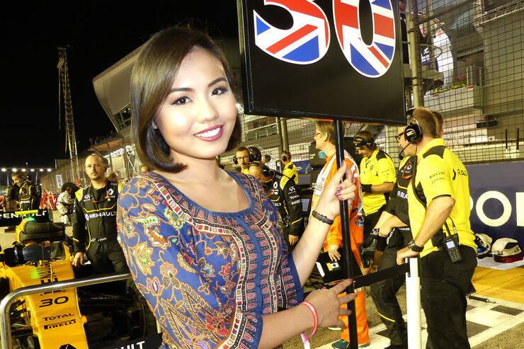 Grid Girls locais marcaram presença no GP de Singapura de Fórmula 1. Foto: Reprodução/Motorsport Magazine