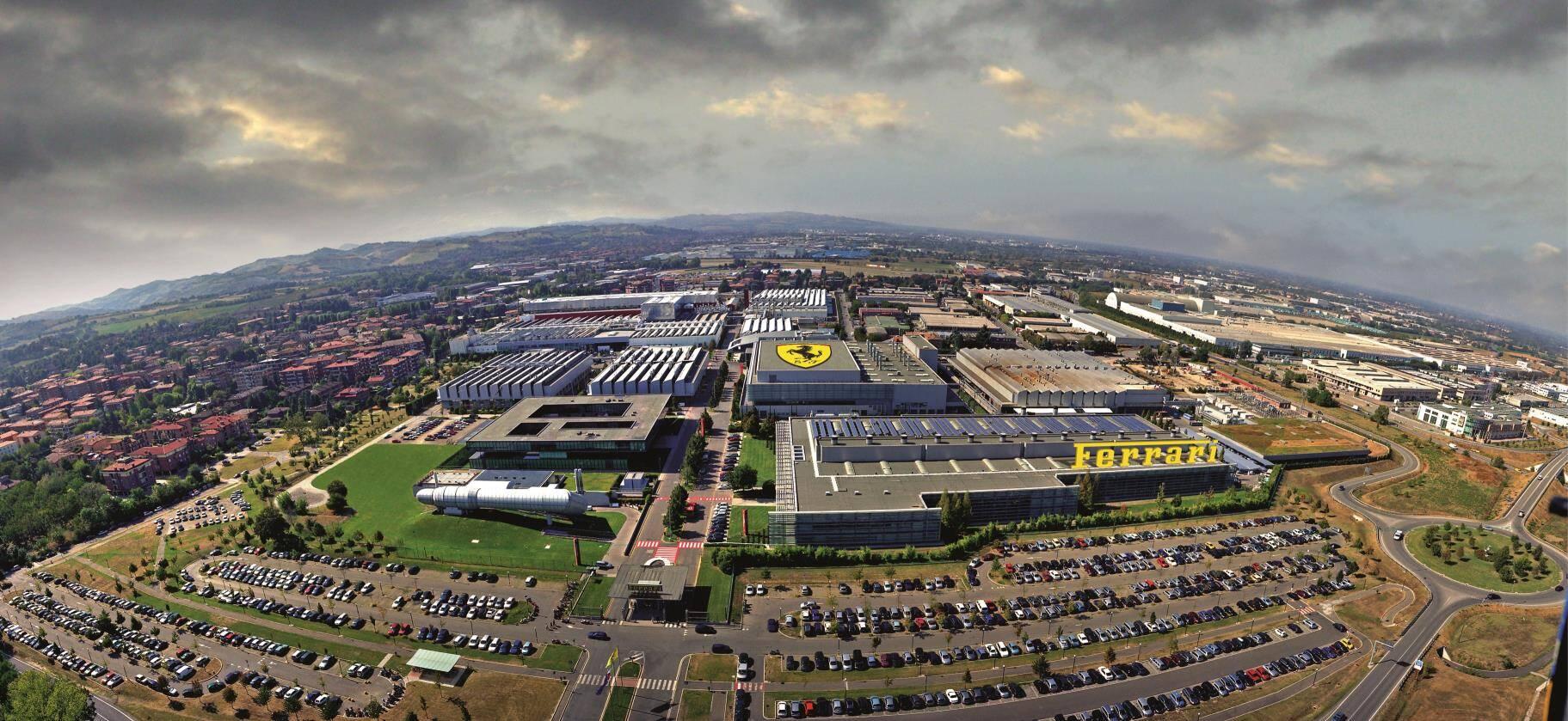 Complexo da fábrica da Ferrari em Maranello. Foto: Divulgação