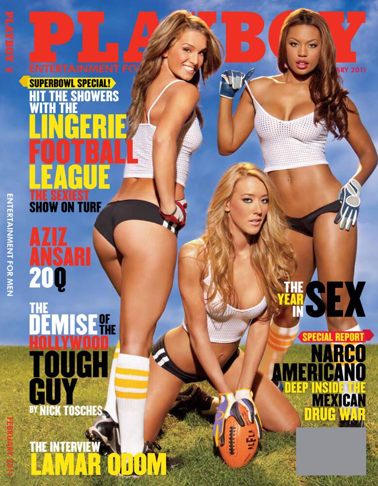 Capa da Playboy - Jogadoras da Lingerie League Legends, a NFL para mulheres. Foto: Divulgação / Revista Playboy
