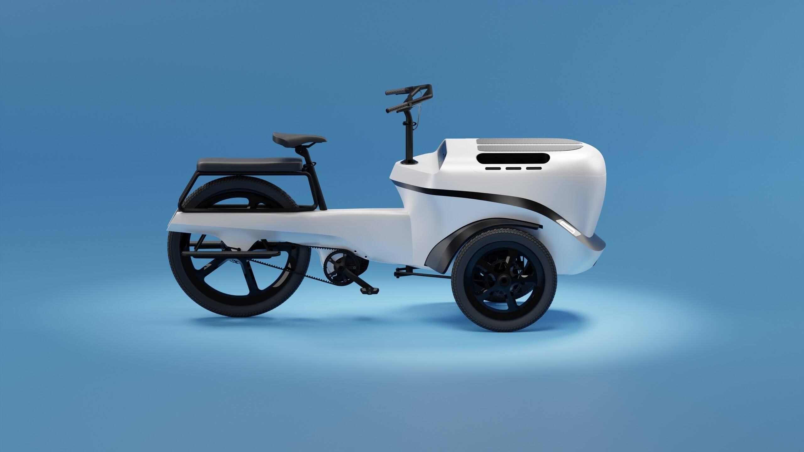 Triciclo elétrico Beluga. Foto: Divulgação