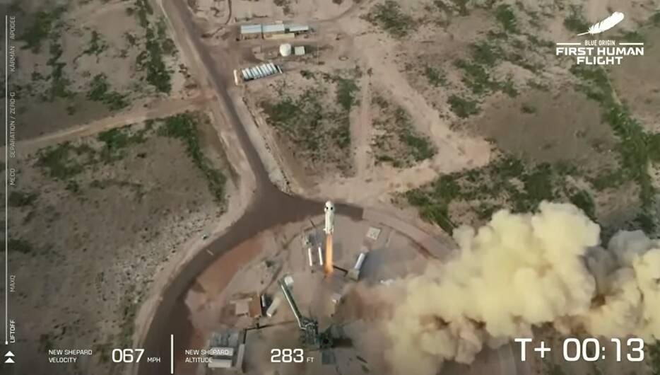 Lançamento do foguete. Foto: Reprodução/Blue Origin