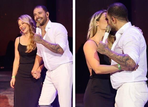 Paolla Oliveira e Diogo Nogueira trocam beijo em show. Foto: Reprodução