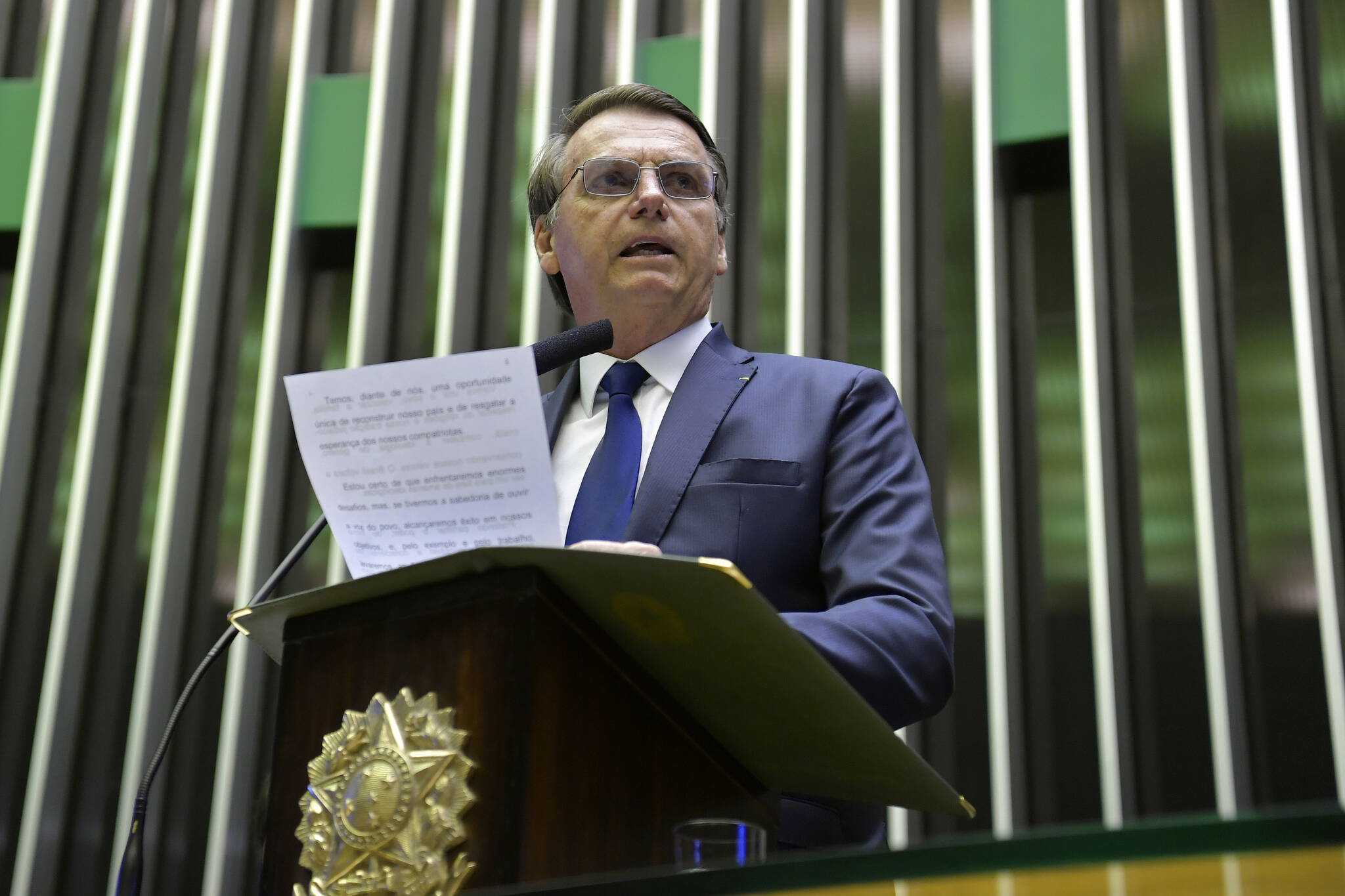 Jair Bolsonaro durante discurso na Câmara dos Deputados, primeira etapa da cerimônia de posse. Foto: Pedro França/Agência Senado - 1.1.19