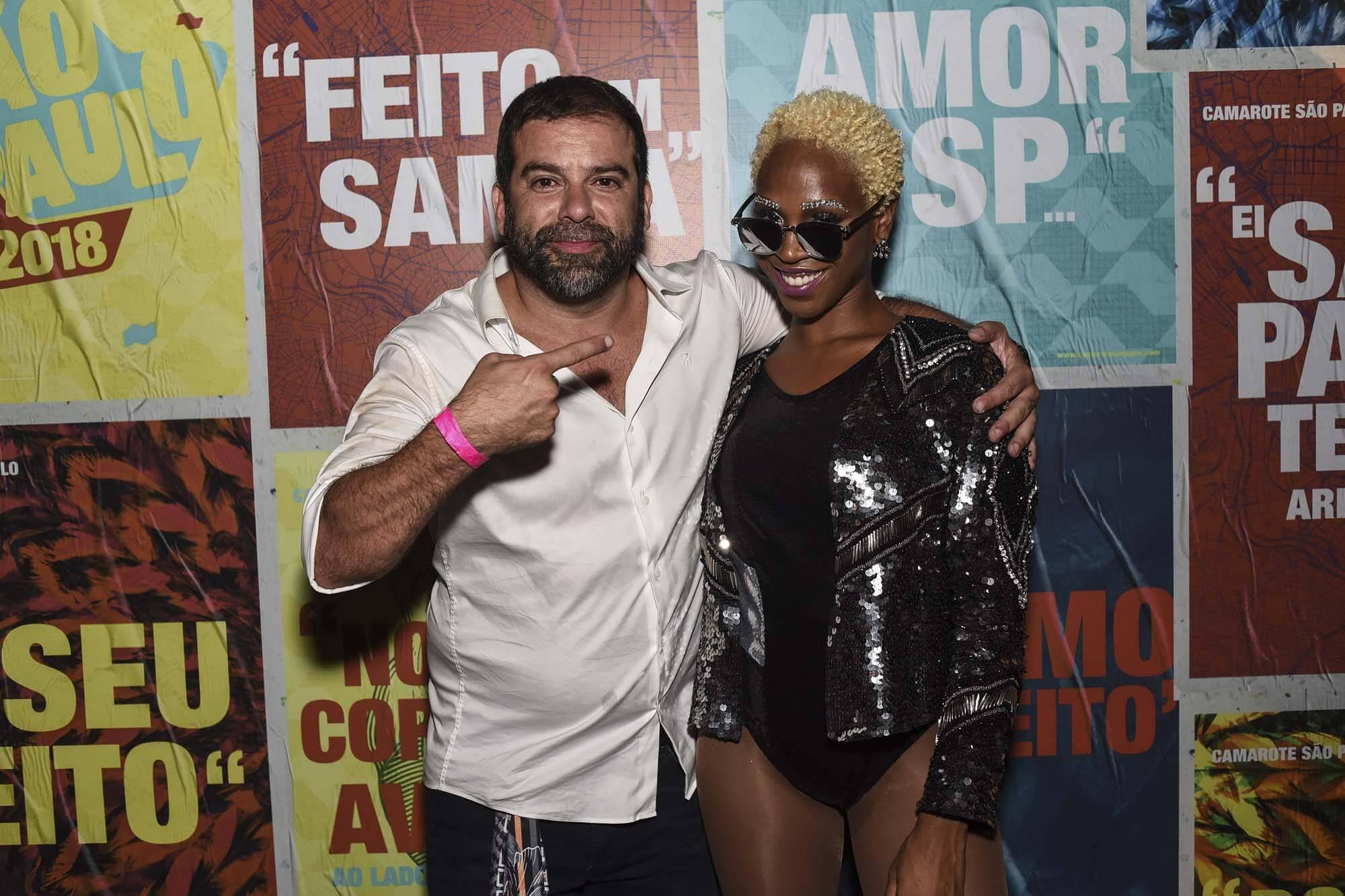 Jorge Mathias e Karol Conká no Camarote São Paulo no Anhembi na última sexta (09). Foto: Lu Prezia