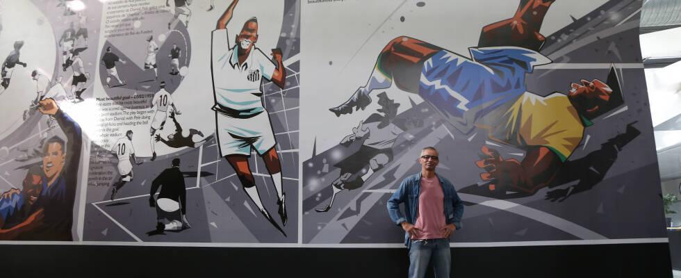 Mural de 200 metros quadrados do cartunista Seri em comemoração ao milésimo gol de Pelé. Foto: Rosangela Menezes