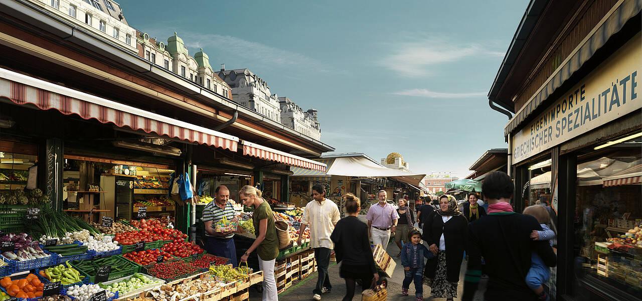 O mercado de rua Naschmarkt oferece variedade de pratos do mundo todo. Foto: Reprodução/Dicas Europa