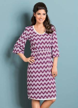 Vestido Moda Evangélica Púrpura Estampa Chevron - R$19,90 na promoção. Foto: Divulgação