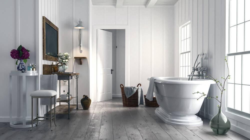 Para quem tem um banheiro amplo, esse é mais um modelo de banheira para inspirar. Foto: shutterstock