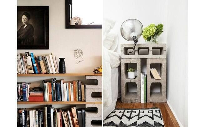 Blocos de concreto não parecem a opção mais sofisticada, mas podem colaborar de forma interessante com a decoração. Foto: Reprodução/Pinterest