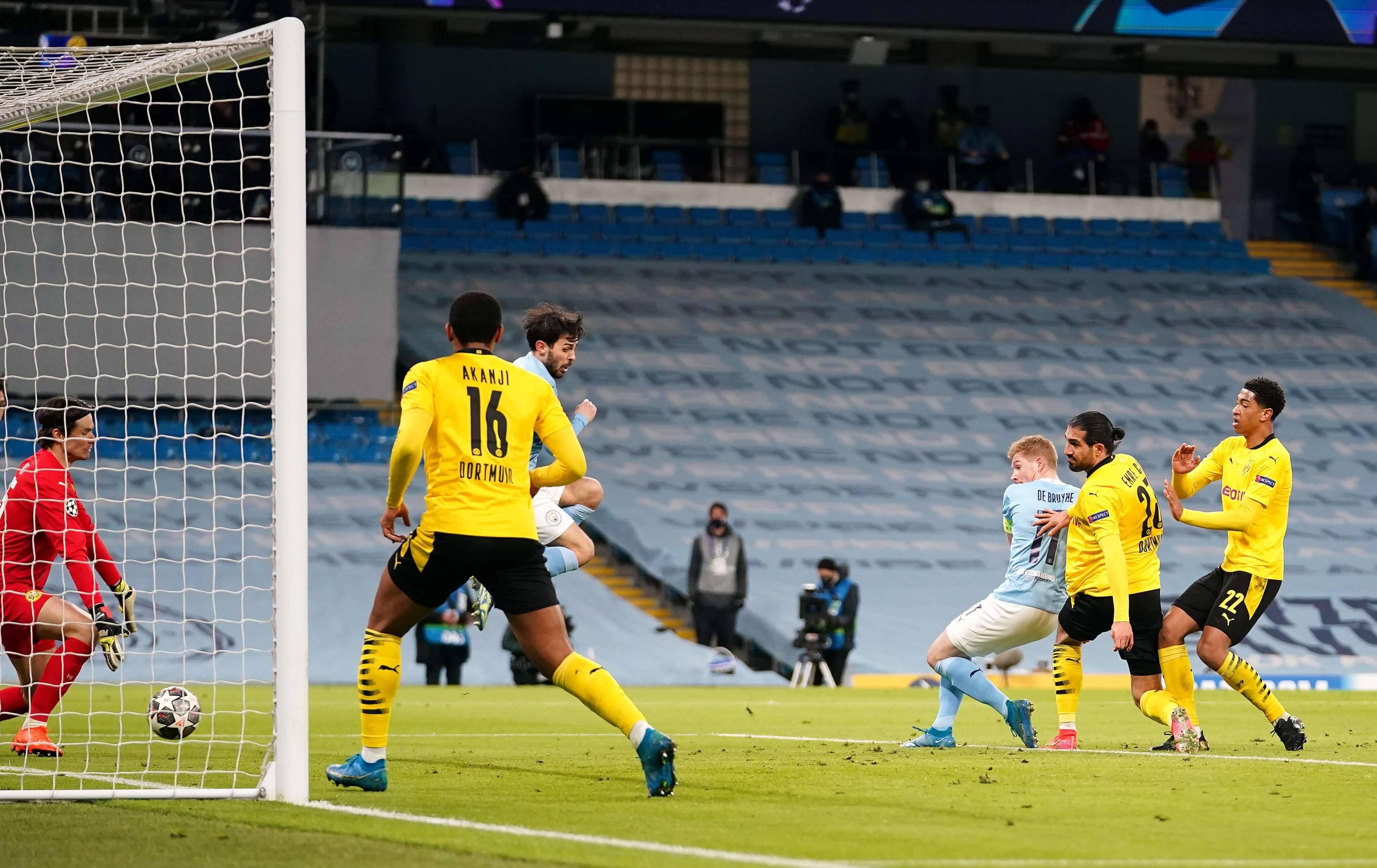 Manchester City x Borussia Dortmund. Foto: reprodução / Twitter