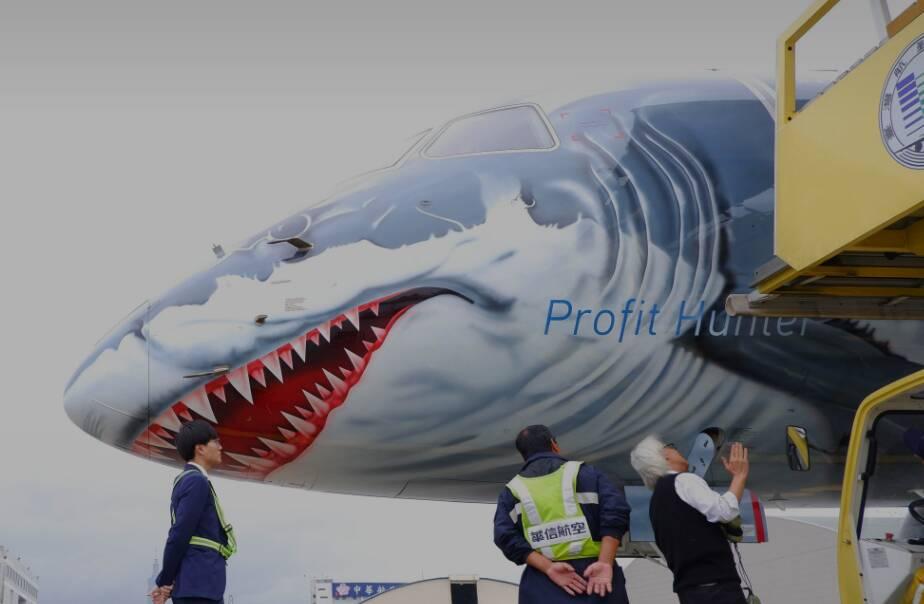 'Avião tubarão' da Embraer despertou muita curiosidade ao redor do mundo. Foto: Divulgação/Embraer