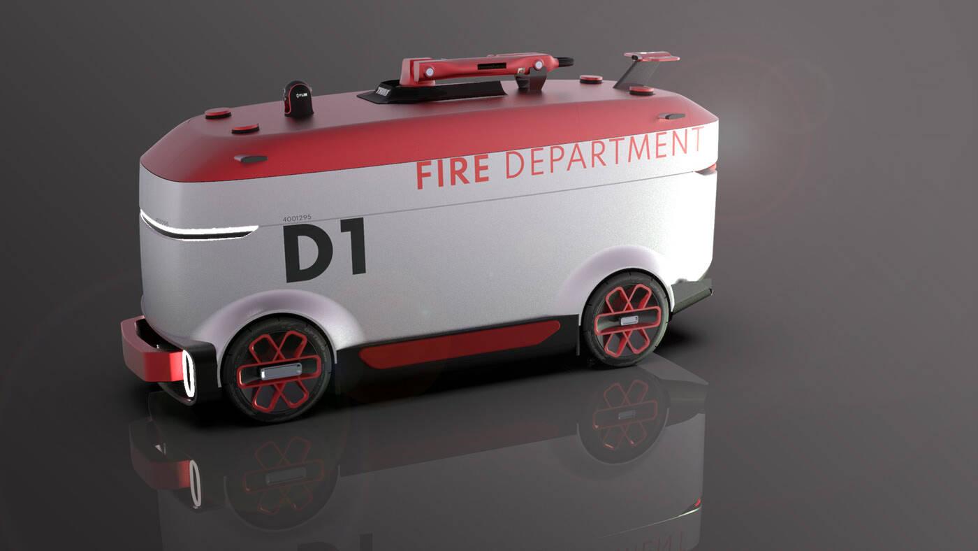 Carro de bombeiro autônomo. Foto: Reprodução/Behance