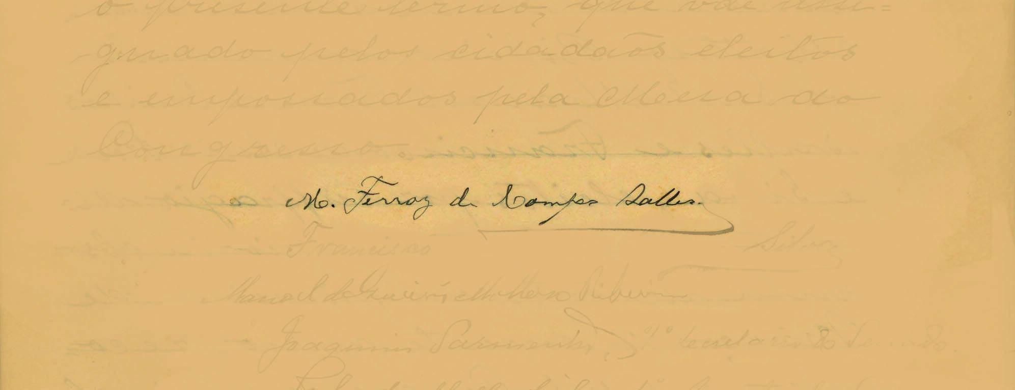 Campos Salles foi o sucessor de Prudente de Moraes. Governou de 1898 a 1902. Foto: Reprodução / Senado Federal
