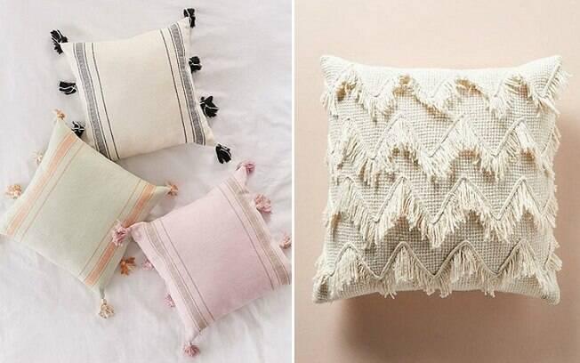 As almofadas com franjinhas são perfeitas para trazer aconchego de volta aos cômodos nas temperaturas mais amenas . Foto: Reprodução/Pinterest