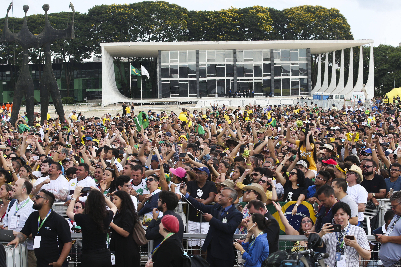 Posse de Bolsonaro reuniu cerca de 115 mil pessoas na Praça dos Três Poderes, em Brasília. Foto: Antonio Cruz/Agência Brasil - 1.1.19