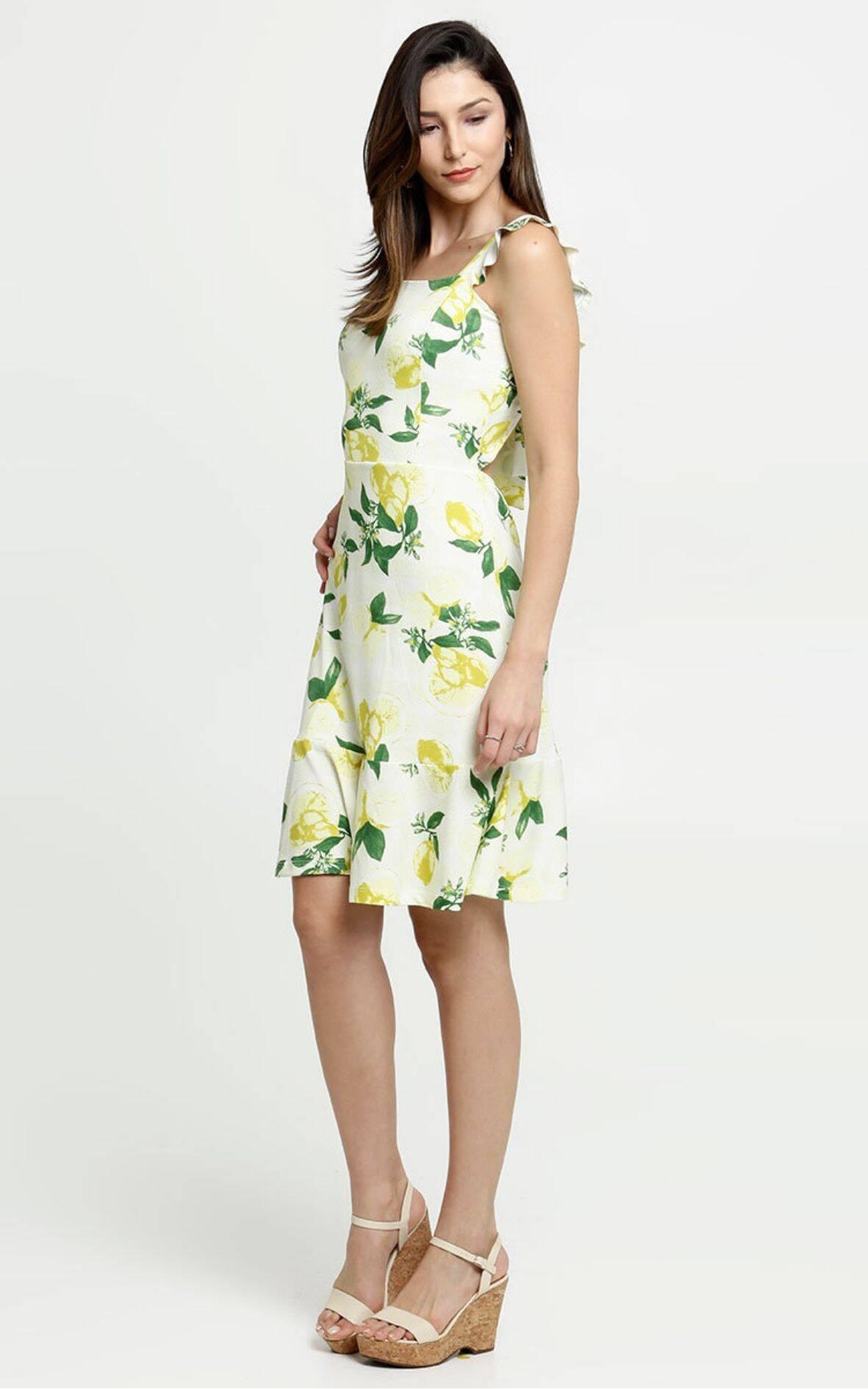 Vestido Feminino Estampa Limão Alças Finas | Marisa | R$ 69,95. Foto: Divulgação