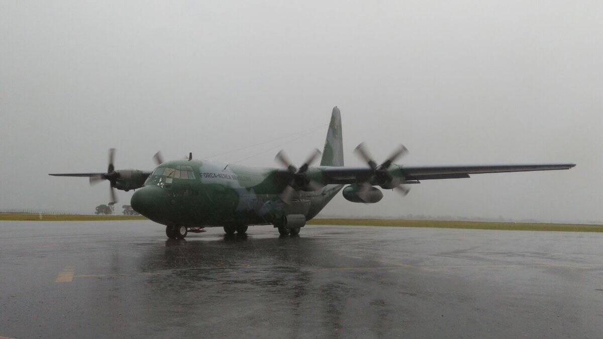 Avião da FAB em Chapecó. Foto: Ministério do Esporte