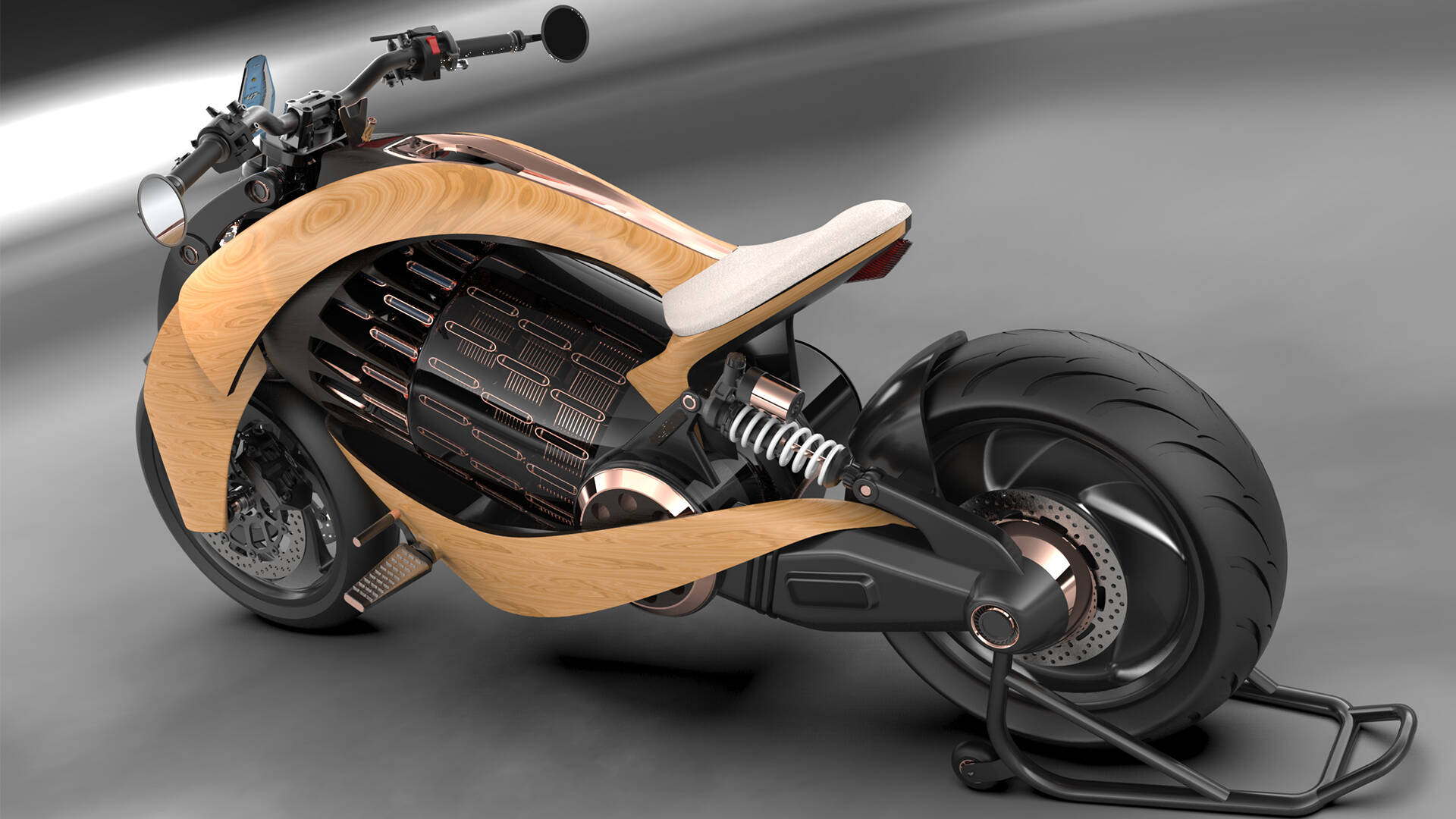 Moto elétrica de madeira. Foto: Divulgação