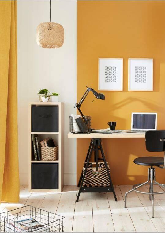 Por proporcionar energia, é uma ótima cor para escritórios e salas de estudo. Foto: Pinterest