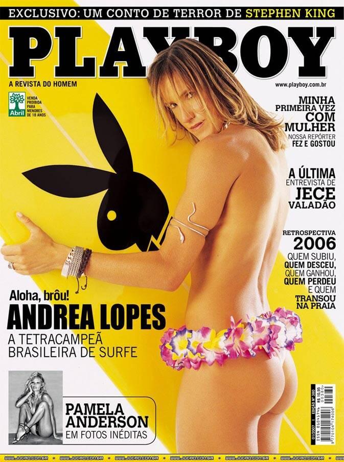 Capa da Playboy - Andrea Lopes, surfista brasileira. Foto: Divulgação / Revista Playboy