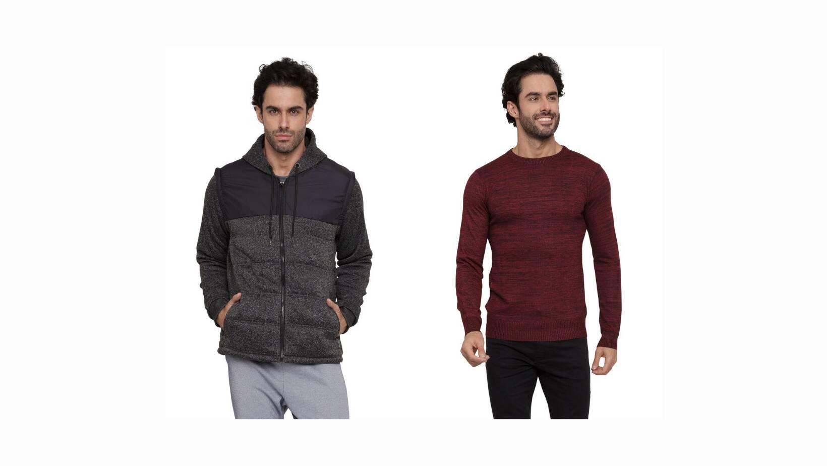 Suéter masculino mescla fechado Caedu, R$ 59,99. Jaqueta masculina zíper Caedu, R$ 119,99.. Foto: Divulgação