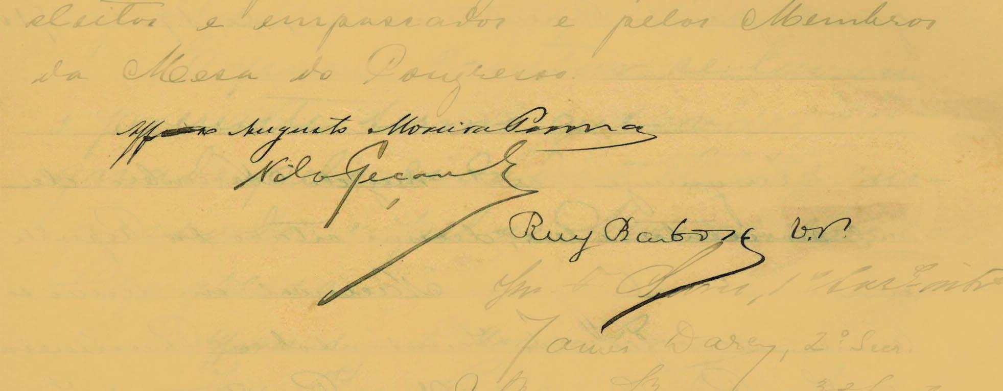 Posse de Affonso Penna e Nilo Peçanha, presidente e vice, em 1906. Ruy Barbosa assina como presidente do Senado. Foto: Reprodução / Senado Federal