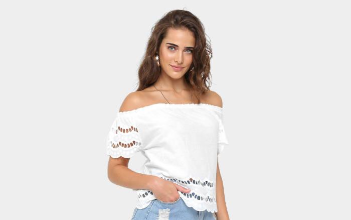 Blusa Acrobat Ombro a Ombro Feminina por R$69,90 na promoção. Foto: Divulgação