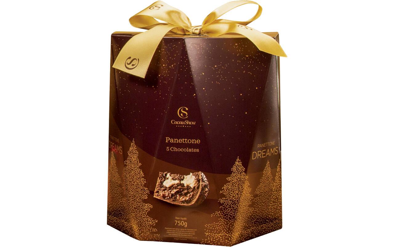 Panettone Dreams 5 Chocolates, lançamento Cacau Show – 750 g (R$ 64,90). Foto: Divulgação