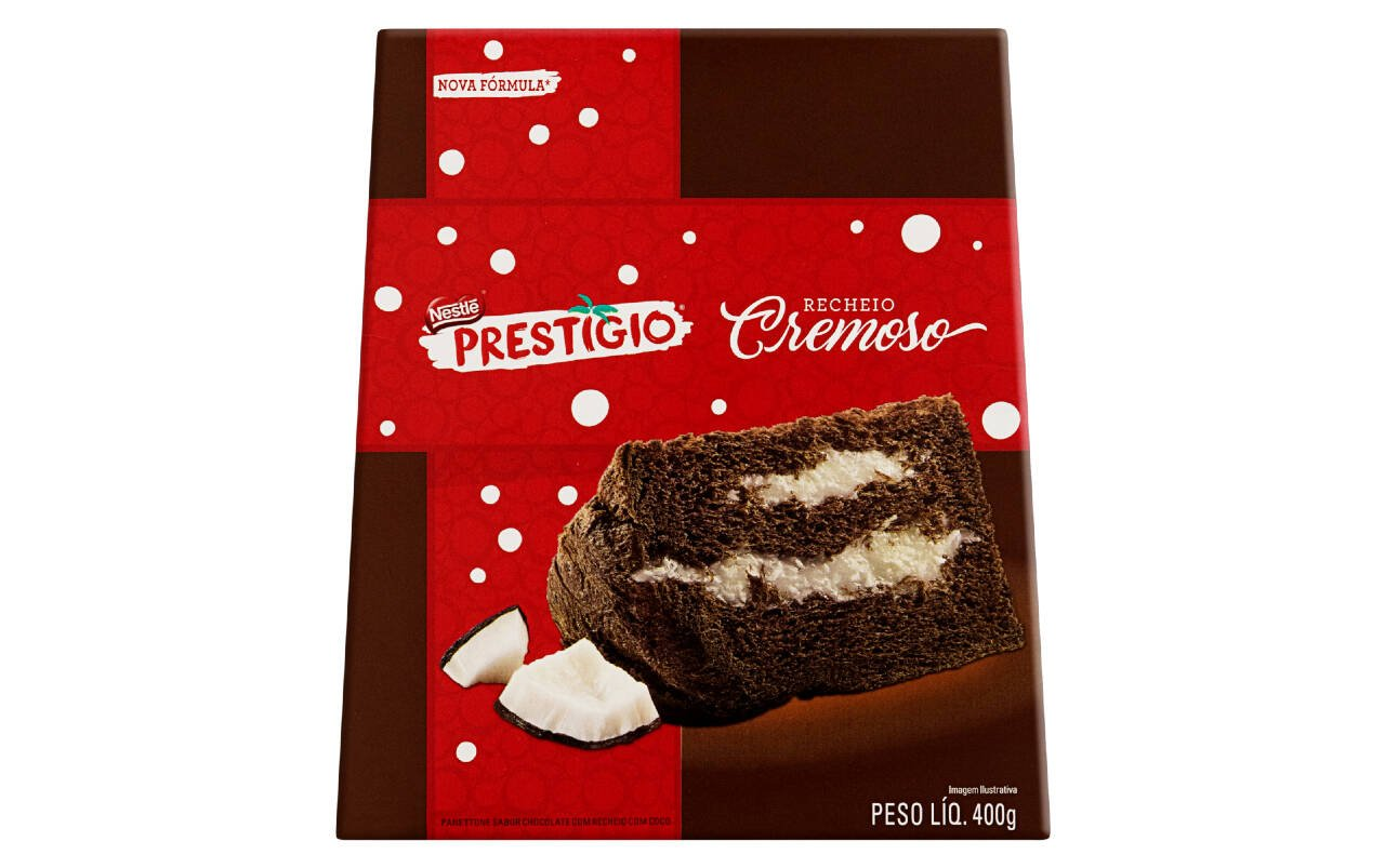 Panetone de chocolate com recheio de coco da Nestlé - 400g (R$ 26,79). Foto: Divulgação
