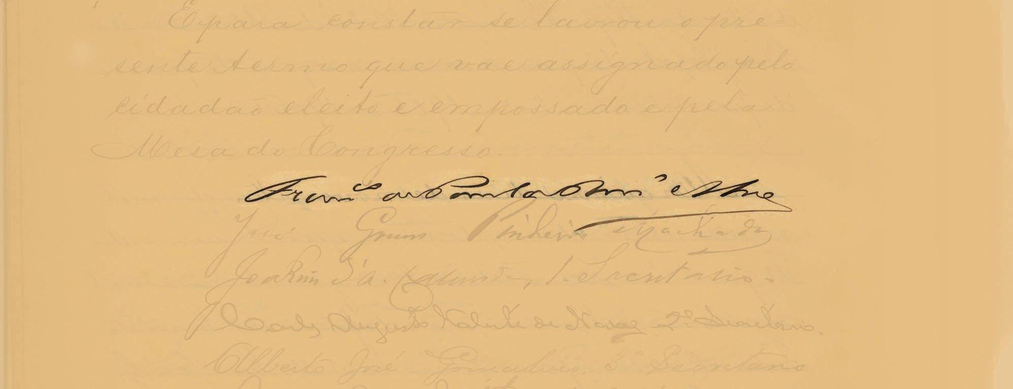 Rodrigues Alves assinou o Termo de Posse em 15 de novembro de 190. Foto: Reprodução / Senado Federal