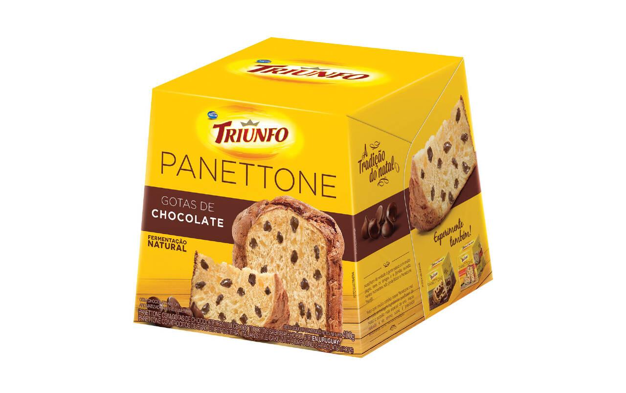 Panettone com gotas de chocolate Triunfo - 400g (R$ 12,99). Foto: Divulgação