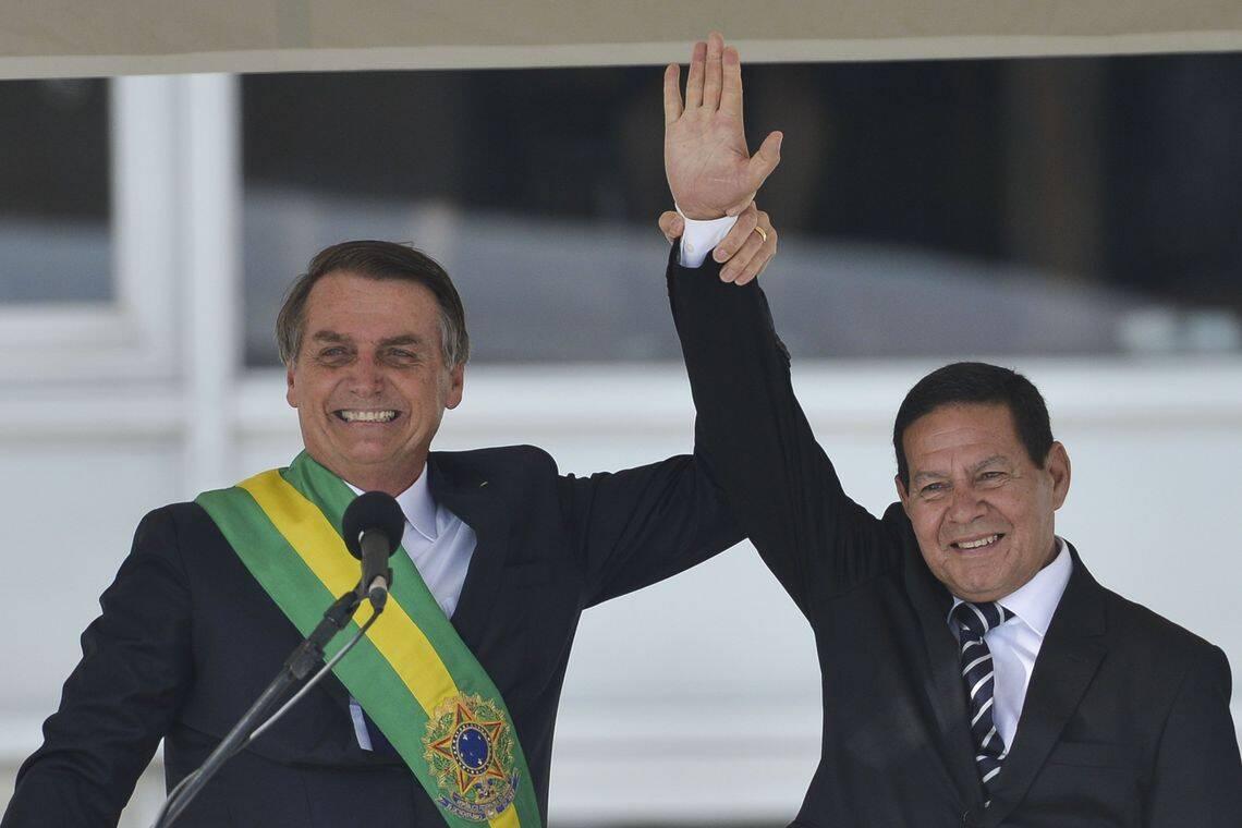 Jair Bolsonaro com o vice General Hamilton Mourão. Foto: Marcelo Casal Jr/Agencia Brasil