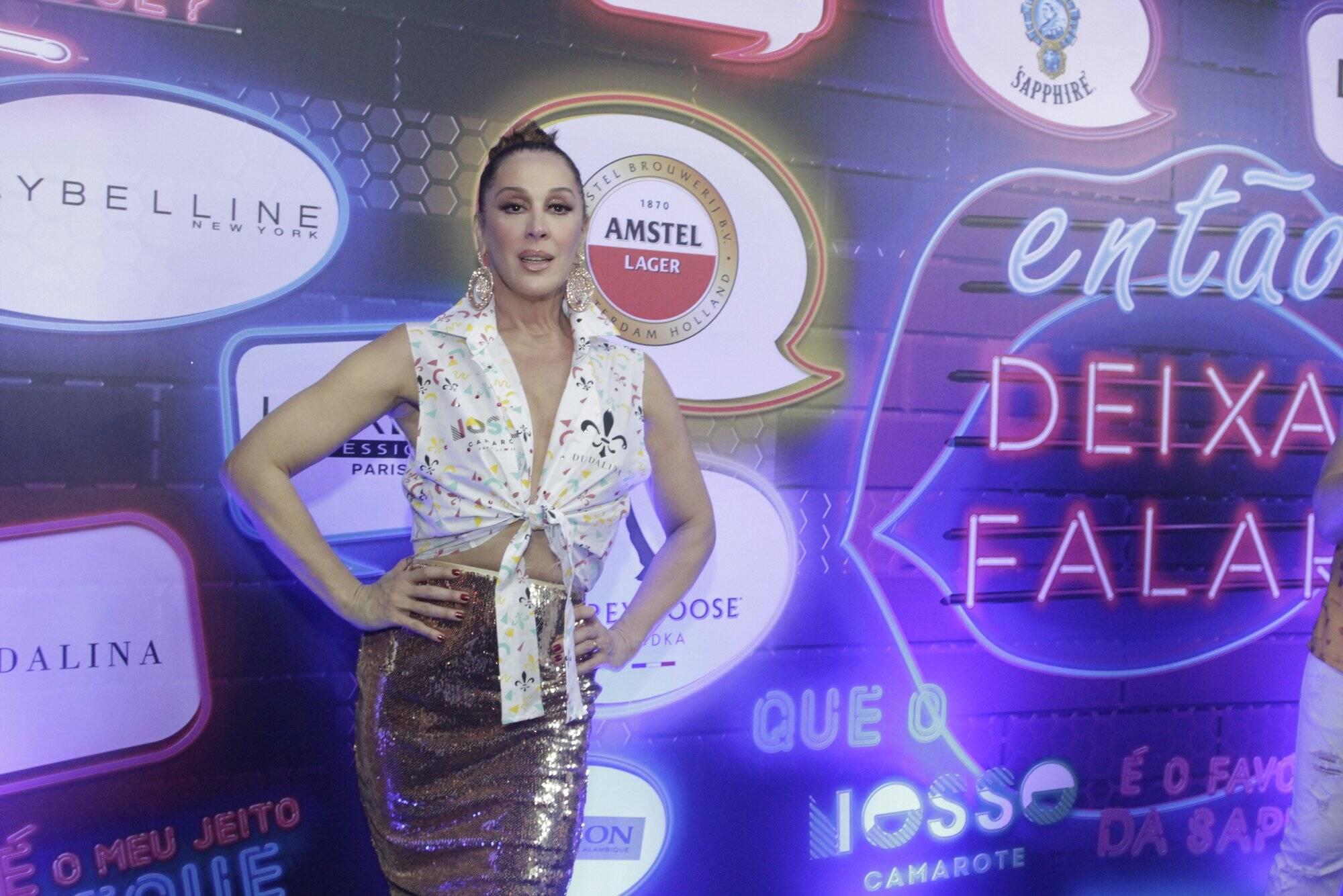 Claudia Raia no Camarote N1 na Marquês de Sapucaí na segunda-feira (12. Foto: Brazil News/CS Eventos Divulgacao
