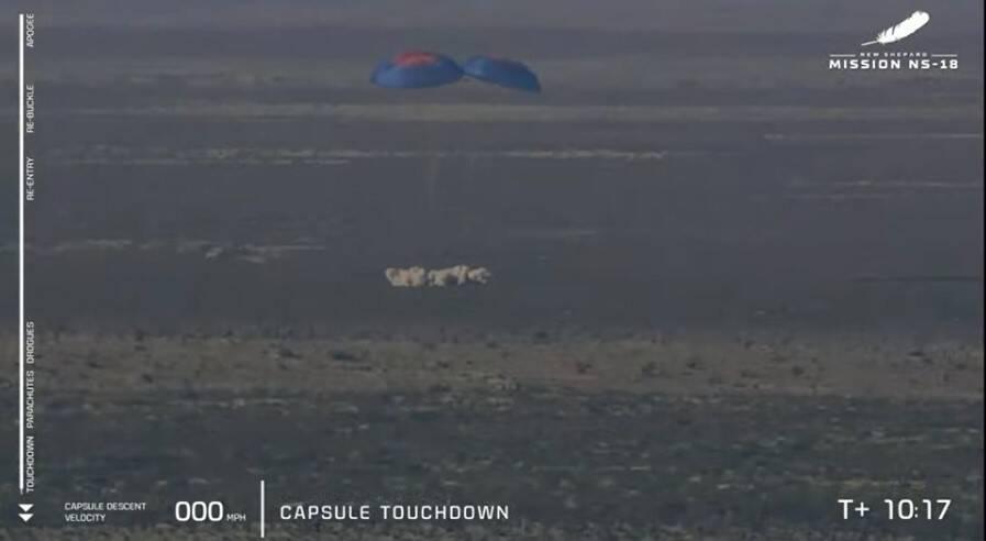 Cápsula pousando. Foto: Reprodução/Youtube