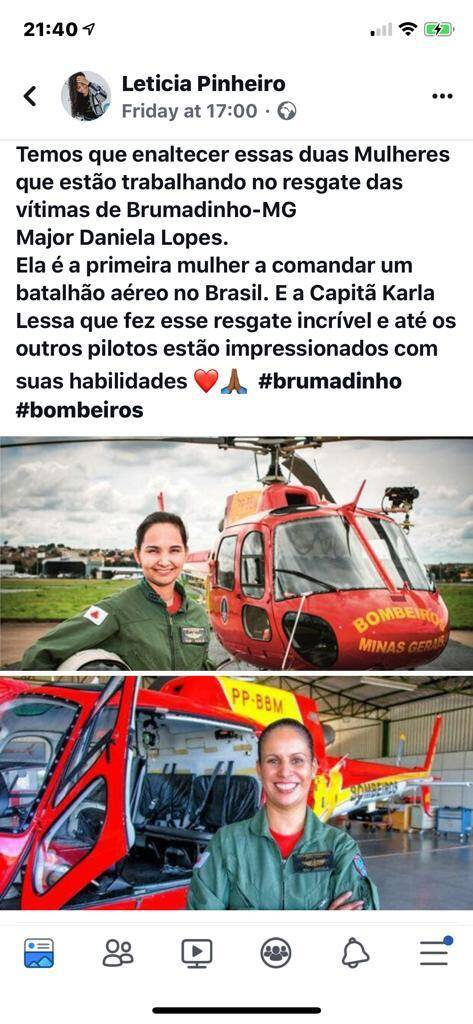 A major Karla Lessa, de 38 anos, pilotava o helicóptero no momento do salvamento e foi a responsável pela manobra perigosa.. Foto: Reprodução/Instagram