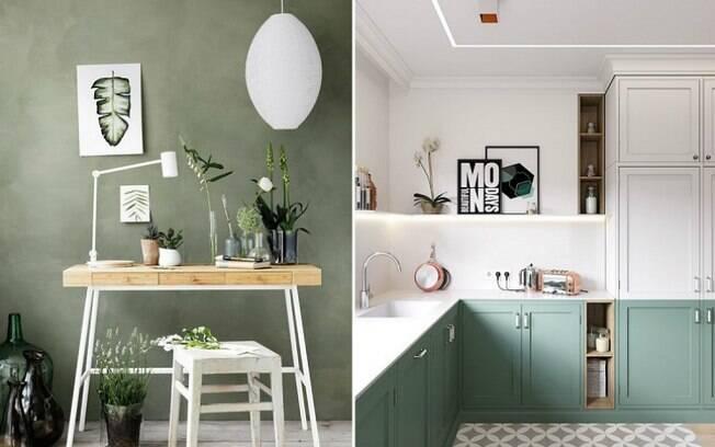 """O tom de verde """"Sage Green"""" é outra cor que está bombando na rede social e pode ser usado em vários cômodos . Foto: Reprodução/Pinterest"""