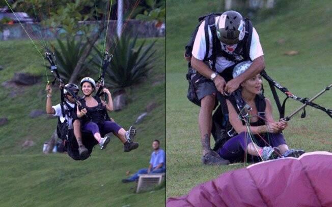 Elsa Pataky toma coragem e voa de parapente