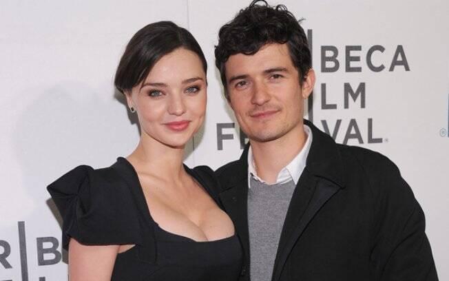 Orlando Bloom e Miranda Kerr no Tribeca Film Festival, na sexta-feira (23/04), em Nova York