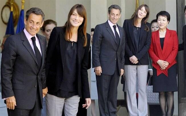 Carla Bruni ao lado do marido, o presidente da França Nicolas Sarkozy