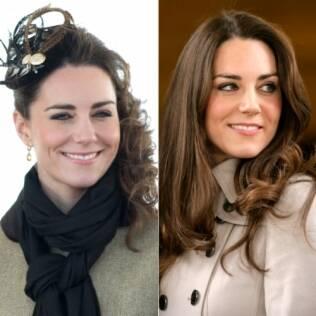 Kate Middleton em dois momentos: usando fascinator e com os cabelos soltos