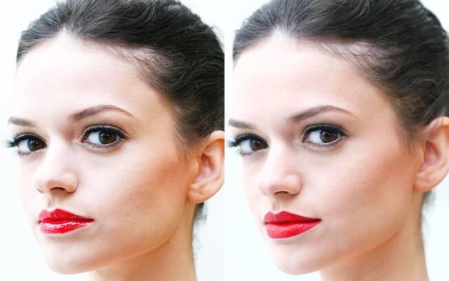 O brilho do gloss (esquerda) e o efeito opaco do batom matte (direita)