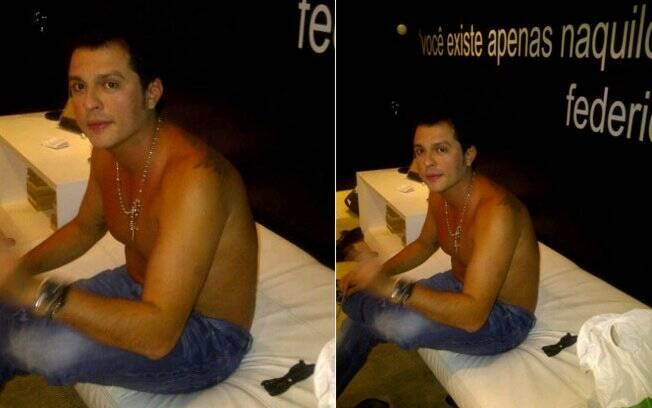 Wellington Muniz, o Ceará do Pânico na TV, sem camisa no camarim