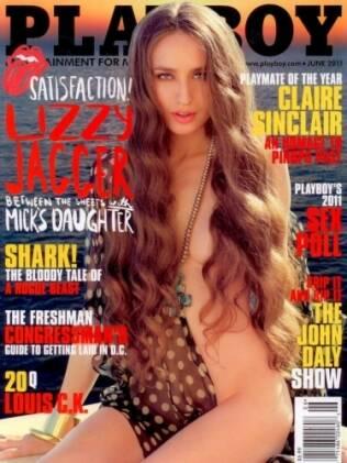 Capa de maio da Playboy inglesa, com Lizzie Jagger