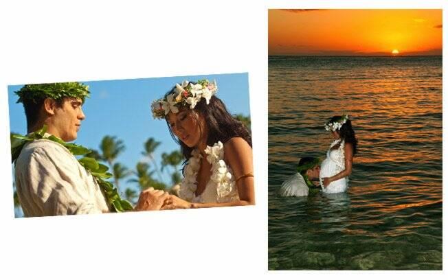 Casal troca alianças; Kauai ganha um beijo do pai, ainda na barriga da mãe