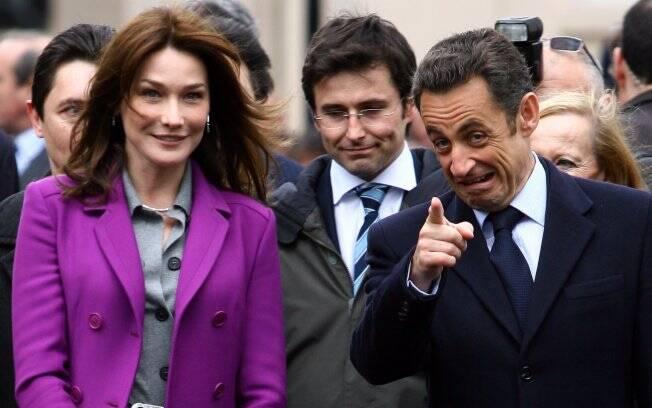 Carla Bruni com o marido, o presidente Nicolas Sarkozi
