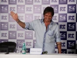 Roberto Carlos na coletiva realizada no Rio