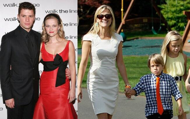 Ryan Phillippe, Reese Witherspoon (em 2005) e os dois filhos do casal, Ava e Deacon (em 2011)