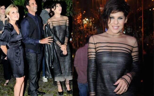 Barbara Paz, que interpretará Virgínia na trama, foi ao evento com um vestido cheio de transparências