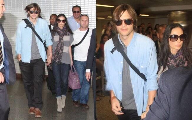 Ashton Kutcher e Demi Moore seguiram do aeroporto para uma suíte no hotel Fasano, em Jardins