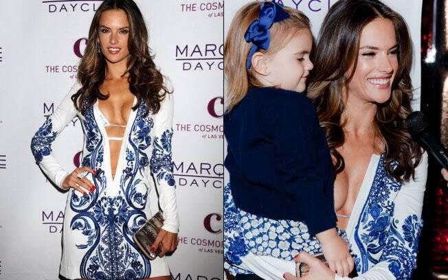 Alessandra Ambrosio com a pequena Anja Louise no seu aniversário de 30 anos em Las Vegas